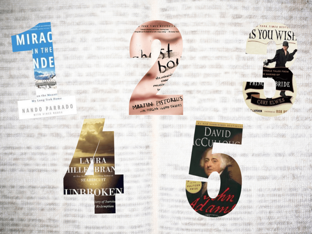 A graphic that shows the 5 books mentioned in this article cropped into the numbers 1, 2, 3, 4, and 5.