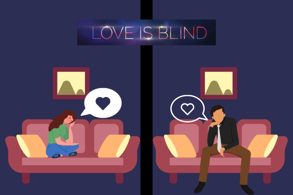 an cartoon depiction of Love is Blind